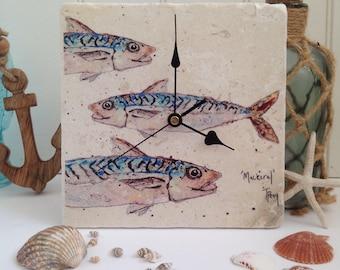 Fish Wall Clock, Mackerel, Fishing, Time, Nautical, Sea, Ocean, Handmade, Art, Fish Painting, Personalised, Home, Accessory, Kitchen, Animal