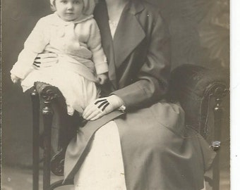 Antique RPPC Real Photo Postcard of a Woman and Her Baby