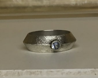 Sterling Silver ring with aquamarine.