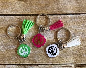 Quatrefoil Monogram Keychain With Tassel, Quatrefoil Initial Keychain With Keychain, Trendy Personlized Keychain Gifts, Christmas Gift