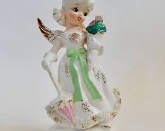 Vintage Knobler Wales May Angel with Parasol and Bouquet of Flowers for Mother's Day - Japan