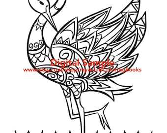 Flamingo Coloring Page for Adults | Flamingo Adult Coloring Pages
