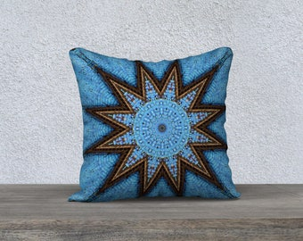 Blue Brown 18 x 18 Pillow Case
