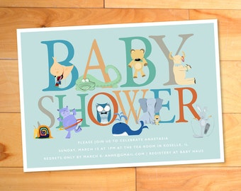 Baby Shower Invitation, Baby Boy, Animals, Alphabet,Letters,Whale, Owl, Elephant, Zoo, Chic, Typography, ABCs, Custom Baby Shower Invitation