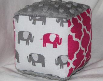 Pink and Gray Elephants Fabric Block Rattle Toy - SALE