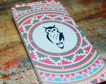 Indian Stitch Owl Print Case For iPhone 6 / (4.7) / 4.7 / 5c / 5s / 5 / 4s / 4 Hard Plastic Rigid Owls Cover Printed In USA c14