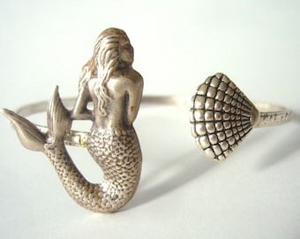 Silver Mermaid cuff bracelet with a shell wrap style