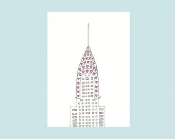 Chrysler Building in hearts - print card