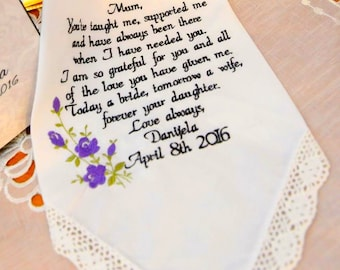 Personalized Embroidered Wedding Handkerchief for Mother of the Bride Wedding Present for Mom