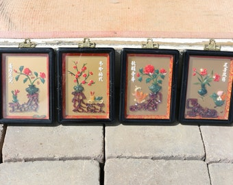 Vintage Chinese 3-D Framed Wall Art