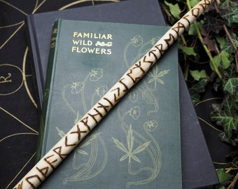 English Ash Wood Runic Wand For Pagans, Heathens, Wiccans and Pagans, with a Bag, Elder Futhark