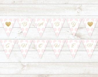 pink gold baby girl shower bunting banner printable bunting banner pink gold glitter baby shower hanging banner - INSTANT DOWNLOAD
