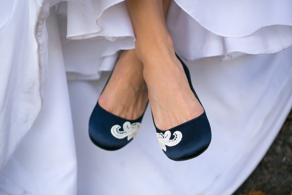 Blue Satin Flat Wedding Shoes