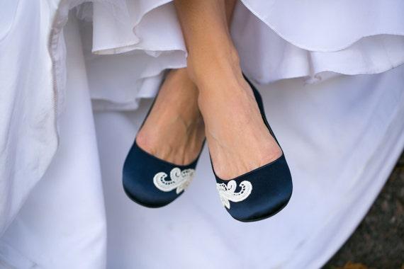 Delicieux Wedding Flats,Navy Blue Bridal Ballet Flats,Wedding Shoe,Navy  Flats,