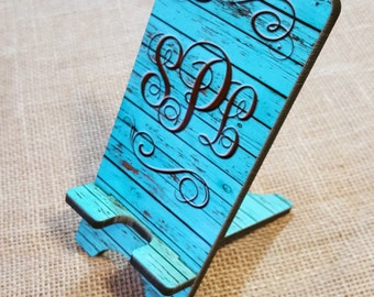 Charging Station, Monogram Phone Stand, Phone Holder, Monogram Phone stand, vintage wood gift, smartphone stand, smartphone gift