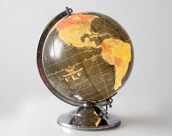 1950s light up globe, Replogle illuminated globe, vintage world globe light