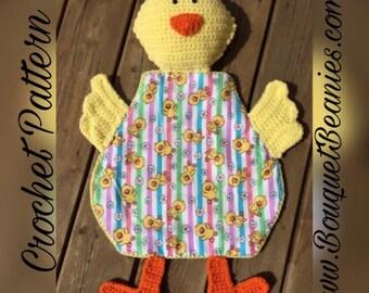 PDF Crochet Pattern- Little Chick Blanket Buddy - Flannel/Crochet - Easy and Fun to make - Beginners to Intermediate