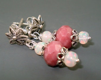 Opal and Rhodonite Earrings, Blue Pink Ethiopian Opals with Rhodonite Dangle Post Earrings with Sterling Silver French Wires