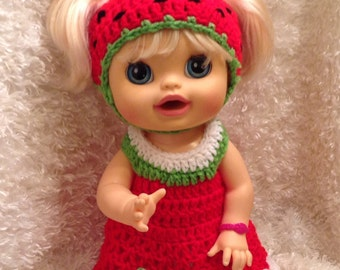 16 inch Doll Clothes,strawberry dress set,spring summer doll sets,gifts for kids,doll outfits,Included Hat,dress,shoes
