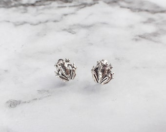 Sterling Silver Frog Design Stud earrings CXYOn