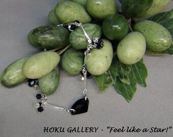 Swarovski Bracelet  - Swarovski Black Diamond Galactic, Silver Plated Twist Link Chain  - Size 8 - Hand Crafted Artisan Jewelry