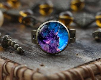 Blue space ring, Nebula ring, Galaxy ring, Universe Jewelry, Space ring, Blue Nebula ring, Space Jewelry