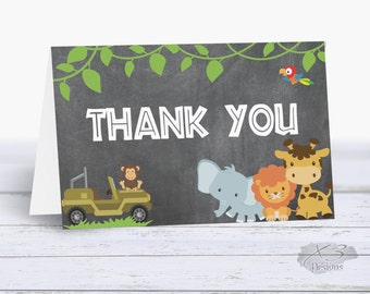 Jungle Birthday Thank You Card, Safari Birthday Party, Printable Thank You Cards Boy, Chalkboard Thank You, Instant Download