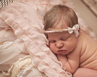 Teagan - Open Halo Headband Wrap Tie Back - Pink Bronze Pearl Lace Twine - Newborn Baby Girl Infant Adults - Photo Prop