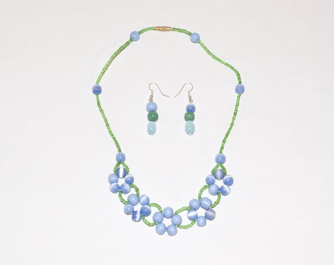 Beaded Blue and Green Flowers Necklace/Earring Set- crafted by Nepalese human trafficking victims