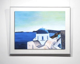 SANTORINI PAINTING, oil painting, Greek island, Summer, Blue, White, 18x24in, Birthday gift, Wall decor, Christmas gift, art, Santorini