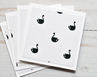 SALE-Black Swan Mini Cards // Set of 4 // Blank Cards // Gift Cards // Lunchbox Notes // Love Notes // Square Cards // Enclousure Cards