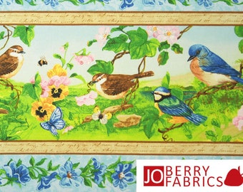 Song Birds Fabric, Flights of Fancy Collection by Jane Maday for Wilmington Prints, Quilt or Craft Fabric, Fabric by the Yard