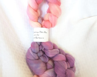 Hand painted Merino roving for hand spinning and felting in Girly Girl colorway