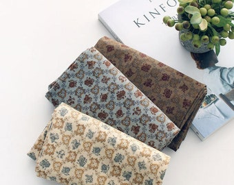 Autumn Flowers Cotton Fabric - Ivory, Light Gray or Brown - By the Yard 93764