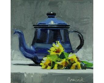 Blue Metal Teapot with Dandelions, Blue Pot Yellow Flowers