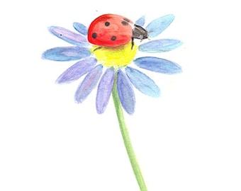 Printable watercolor art,Floral wall art, Floral print, Ladybug, Daisy, Floral decor,Kids room wall art, Nursery decor, Nursery print