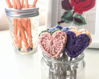 Set of 3 Crochet Heart Paperclip bookmarks - Planner Paperclips - Planner Accessories - Journaling Bible Tabs - Planner Clips- Spring Colors