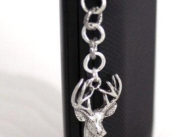 Deer Dust Plug Charm - Buck Deer Head, Cell Phone Charm, Silver Charm or Gold Charm, iPhone Accessory