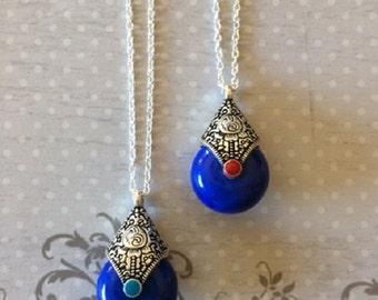 Bohemian Necklace - Bohemian Jewelry - Bohemian Pendant - Bohemian Wedding - Royal Blue Wedding - Royal Blue Necklace - Royal Blue Jewelry