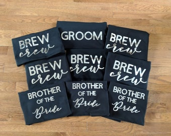 BREW CREW T Shirt Set - Great for Bachelor party, Stag and Doe or Morning of Wedding!