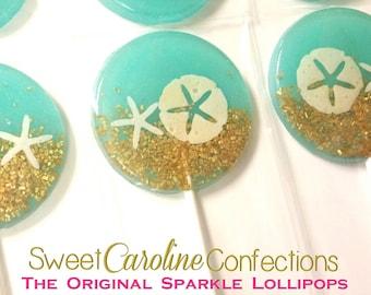 Beach Wedding Favors, Blue Wedding Favor, Beach Wedding, Candy Lollipops, Candy, Sparkle Lollipops, Sweet Caroline Confections -6/Set