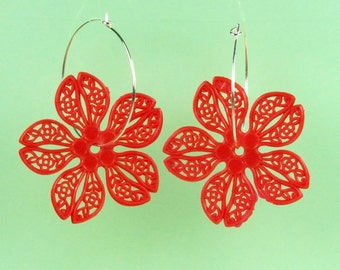 Vintage Red Lucite Flower Hoop Earrings