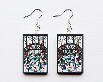 Alice in Wonderland mini book earrings