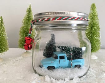 Vintage Ford Pick Up Truck in Mason Jar Snow Globe
