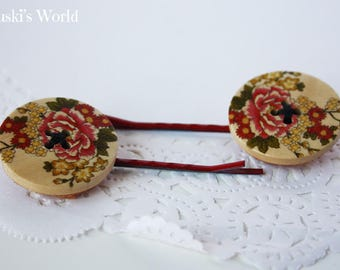 button forks wood flowers, wooden hairpins, flower hairpins, button hairpins, hairpins