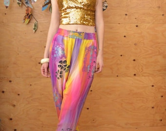 Vintage 80's Rayon Hot Pink & Yellow Tie Dye Tapered Genie Pants, Beaded Detail Size S/M