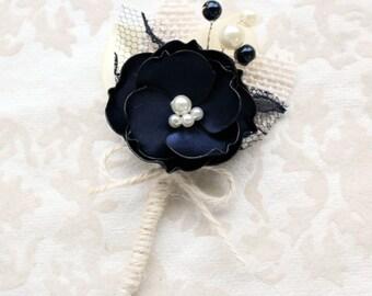 Navy Ivory Burlap Boutonniere/ Mens Wedding Boutonniere/Navy Lapel Pin/ Handmade Accessory