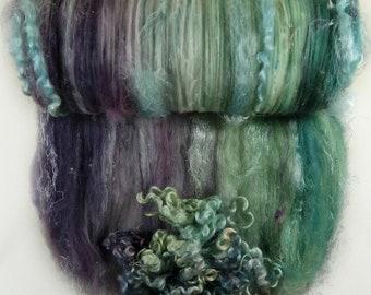 Plum Opal Wild Card Bling Batt for spinning and felting - 4.1 ounces, batt, art batt