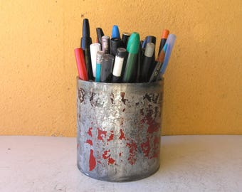 Red Silver Pencil Holder Unique Pen Cup Industrial Office Desk Organizer desktop accessory Upcycled Salvaged Pipe coworker friend gift