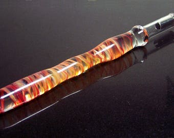 Rasberry and orange swirls handformed glass calligraphy & drawing dip pen fitted with changeable nib holder